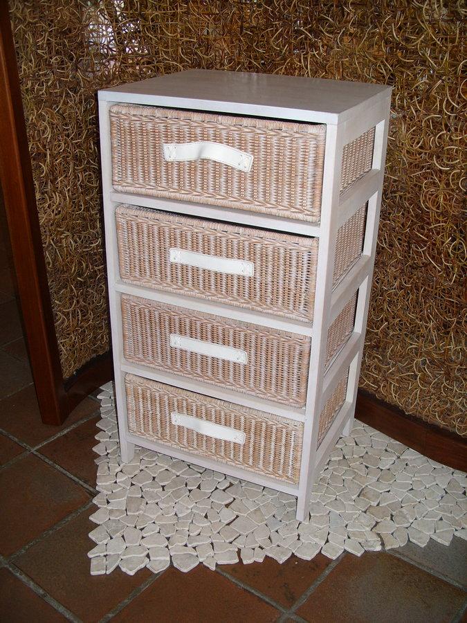 Cassettiere Vimini E Legno.Cassettiera In Legno Bianco Bianca Vimini 4 Cassetti Cucina E