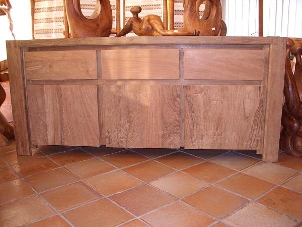 Cassettiere In Legno Grezzo.Credenza Cassettiera Buffet Per Sala Soggiorno In Legno Grezzo 180 X 50 H 80 Cm 3 Ante 3 Cassetti