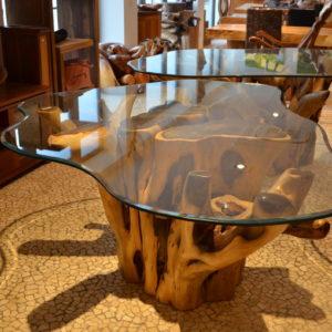 Base Per Tavolo Di Cristallo.Tavoli Radice Con Vetro Menghini Bambu Vimini