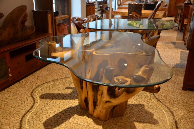 Tavolo Da Pranzo Con Base In Radice Di Albero Con Vetro Altezza 80 Cm Per Soggiorno Salone Sala Pranzo Etnico Menghini Bambu Vimini
