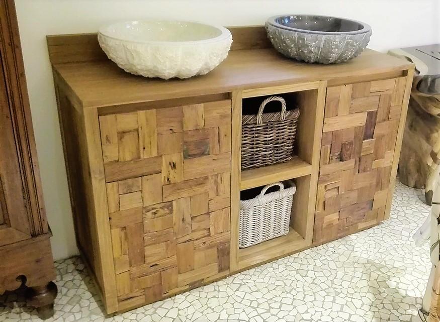Mobile bagno in legno di teak di recupero grezzo ante h