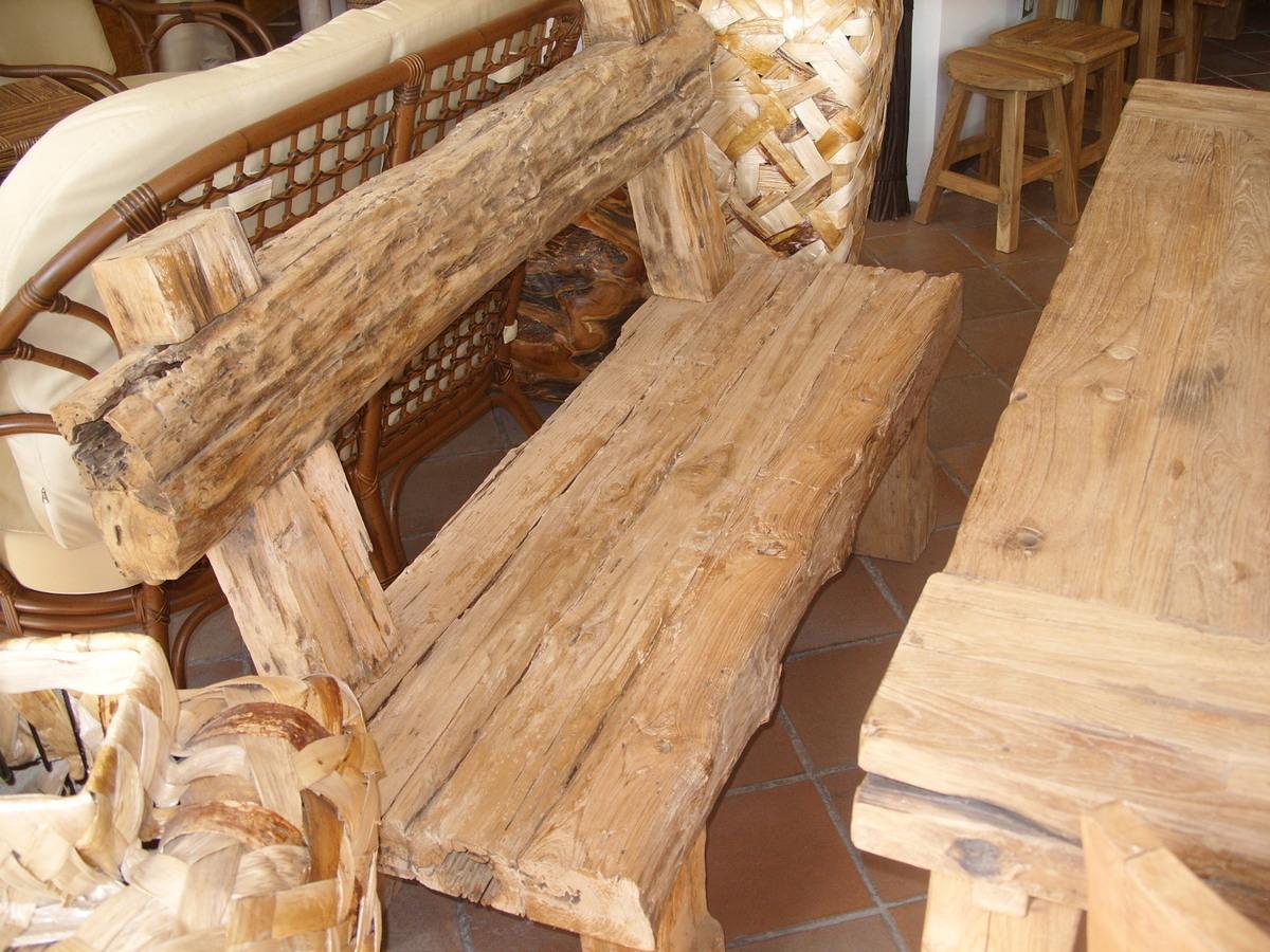Legno Grezzo Per Tavoli panca con schienale modello railway in legno grezzo di teak recupero  robusta in 2 misure