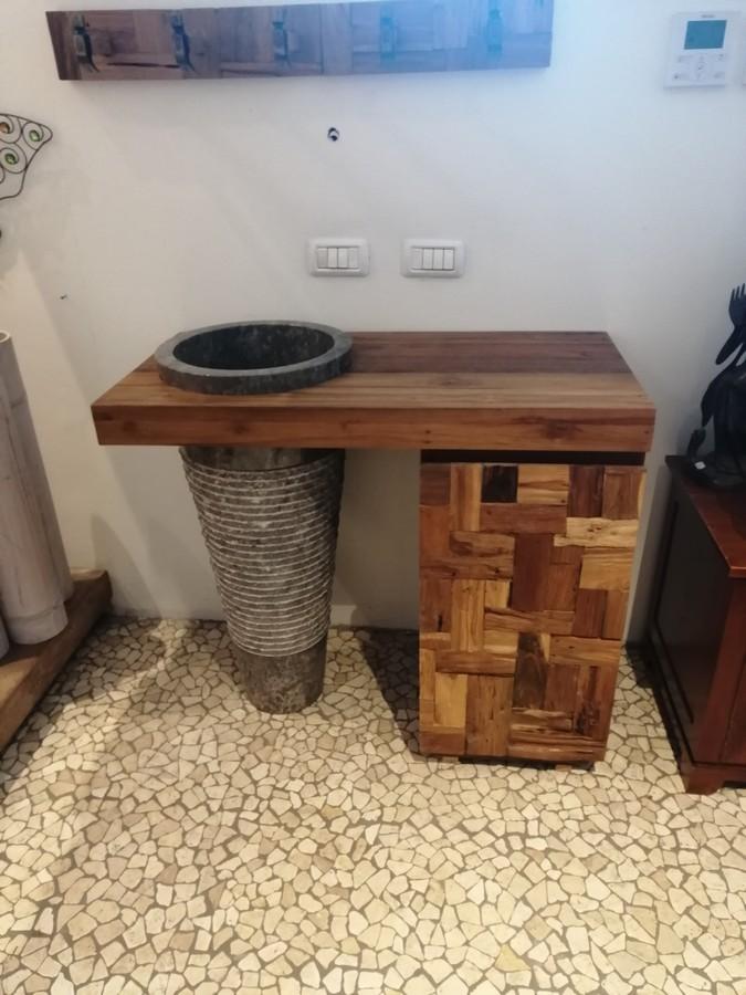 Mobili Bagno Legno Teak.Mobile Bagno In Legno Di Teak Con Lavandino Tondo In Marmo Bianco Nero A Colonna 100x50h85