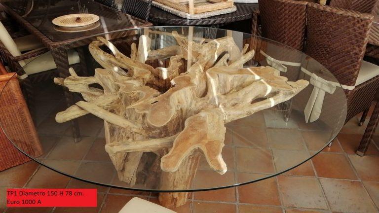 Tavolo Da Pranzo Cod Tp1 Con Base In Radice Di Albero Con Vetro Altezza Diametro 150 H 78 Cm Per Soggiorno Salone Sala Pranzo Etnico Menghini Bambu Vimini