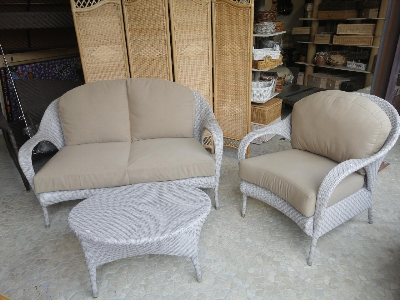 """Poltrone In Vimini Da Interno set da giardino modello """"tango"""" composto da divano 1 poltrona e tavolino  colori e misure personalizzabili"""